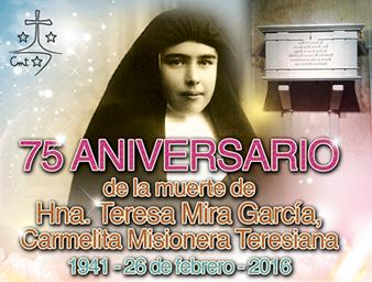 Invitación Actos conmemorativos 75 Aniversario Teresa Mira en Novelda