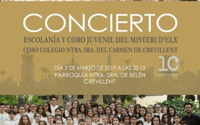 2 de marzo. La Escolanía del Misteri D'Elx participa en el X aniversario del Coro de las Carmelitas de Crevillente